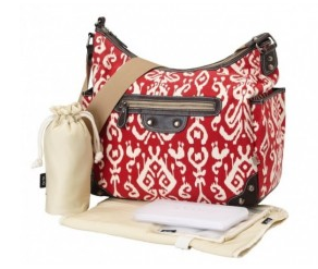 OiOi Pompeian Red Ikat Tapestry Hobo Diaper Bag