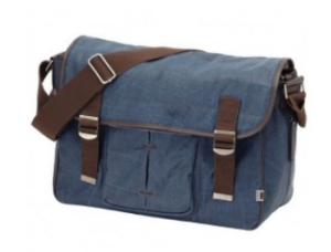 oioi Wickeltasche - Denim Blue Crushed Waxed Canvas Satchel Diaper Bag