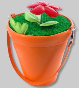 Pylones Blumentopf Handtasche orange