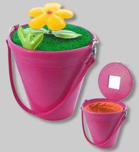 Lustiger Pylones Blumentopf als Handtasche in Farbe pink