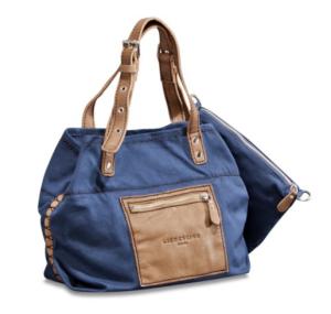 Liebeskind Berlin Handtasche Beta S Baumwolle Leder dunkelblau