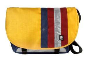 Dinky Di Messenger Bag von crumpler in gelb mit bunten Streifen